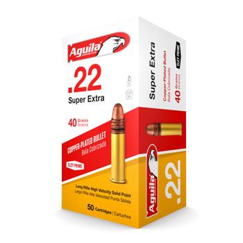 Aguila Ammunition Rimfire, 22LR, 40 Grain, Solid Point, Hi-Velocity, 50 Round Box 1B222328, UPC :640420001012