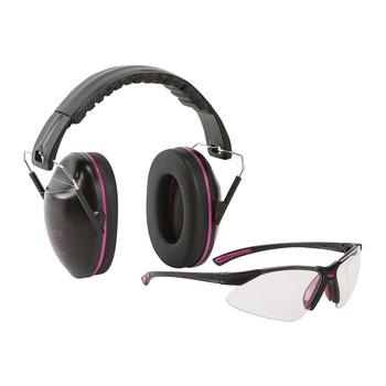 Allen Gamma Junior Earmuff & Glasses Combo, Black/Orchi d Plastic, NRR 23 Rated, Anti-fog/Clear Lenses, Adjustable, Foldable 2326, UPC : 026509019022