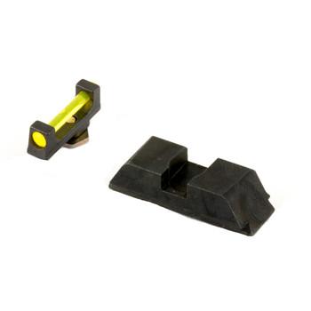 AmeriGlo Sight, Fits Glock 17,19,22,23,24,26,27,33,34,35,37,38,39, Amber Fiber Front Black Rear GFT-115, UPC :644406904472
