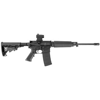 "Bushmaster Quick Response Carbine, Semi-Automatic Rifle, 223 Rem/556NATO, 16"" Barrel, 1:8 Twist, Black Finish, 6 Position Collapsible Stock, Mini Red-Dot Optic, 30Rd, A2 Flash Hider 91046, UPC :604206910462"