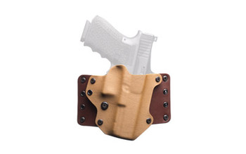 """Black Point Tactical Leather Wing OWB Holster, Fits Glock 19/23/32, Right Hand, Coyote Kydex & Chocolate Leather, with 1.75"""" Belt Loops, 15 Degree Cant 100203, UPC :191107002032"""