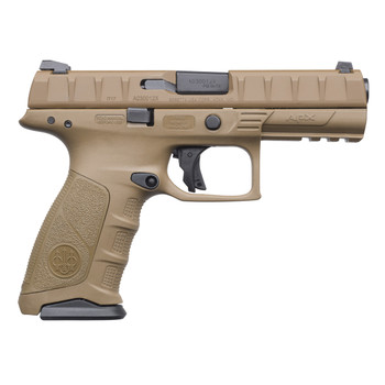 "Beretta APX, Semi-automatic, Striker Fired, Full Size Pistol, 9mm, 4.25"" Barrel, Polymer Frame, FDE Finish, 15Rd, 2 Mags, 3 Dot Sights JAXF91505, UPC : 082442893242"