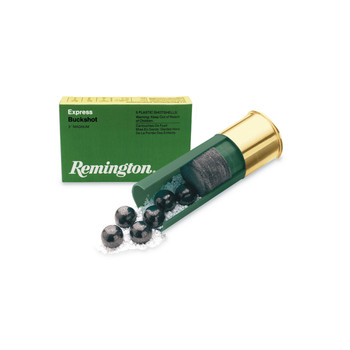"Remington Express, 12 Gauge, 2.75"", 1 Buck, Buckshot, 16 Pellets, 5 Round Box 20624, UPC : 047700019802"