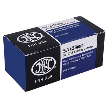 Federal Self Defense, 5.7x28MM, 40 Grain, V-Max Blue Tip, 50 Round Box SS197SR, UPC :818513003612