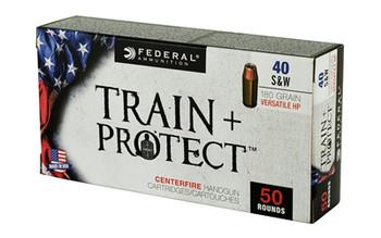 Federal Train & Protect, 40 S&W, 180 Grain, Verastile Hollow Point, 50 Round Box TP40VHP1, UPC :604544627282