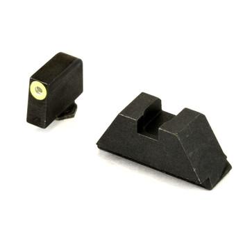 AmeriGlo Sight, Fits All Glocks except 42/43, Green Tritium LimeGreenLumi Outline Front Black Rear, Tall Suppressor Set GL-611, UPC :644406904632