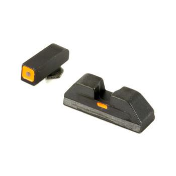 AmeriGlo CAP - Combative Application Pistol Sight, Fits Glock 17,19,22,23,24,26,27,33,34,35,37,38,39, Green/Orange, Green Tritium Front Sight With Orange LumiOutline, Rear Sight with Orange Lumi Horizontal Center Line GL-616, UPC :644406905622
