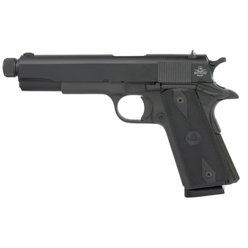 "Armscor Rock Island, 1911, 45 ACP, 5"" Threaded Barrel, Steel, Parkerized Finish, Wood Grips, Fixed Sights, 1 Magazine, 8 Rounds 51473, UPC :4806015514732"