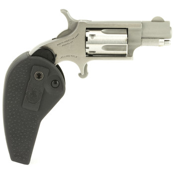 """North American Arms Mini Revolver, Single Action, 22LR, 1.125"""" Barrel, Steel Frame, Stainless Finish, Polymer Grips, Fixed Sights, 5Rd, Holster Grip NAA-22LR-HG, UPC :744253000492"""