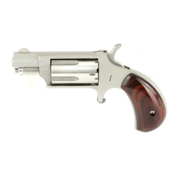 """North American Arms Mini Revolver, Single Action, 22LR/22WMR, 1.125"""" Barrel, Steel Frame, Stainless Finish, Wood Grips, Fixed Sights, 5Rd NAA-22MSC, UPC :744253000232"""