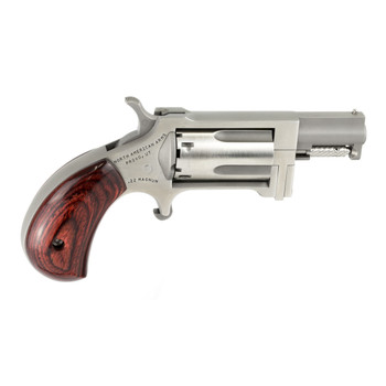 """North American Arms Mini Revolver Sidewinder, Single Action, 22WMR, 1"""" Barrel, Steel Frame, Stainless Finish, Wood Grips, Fixed Sights, 5Rd, Swing-out Style Cylinder Assembly Creates an Easier Process of Loading and Unloading NAA-SWC, UPC :7442530022"""