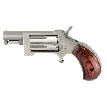 "North American Arms Mini Revolver Sidewinder, Single Action, 22WMR, 1"" Barrel, Steel Frame, Stainless Finish, Wood Grips, Fixed Sights, 5Rd, Swing-out Style Cylinder Assembly Creates an Easier Process of Loading and Unloading NAA-SWC, UPC :7442530022"