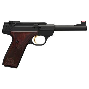 "Browning Buck Mark, Challenge, Semi-automatic, 22LR, 5.5"" Barrel, Aluminum Frame, Black Finish, Rosewood Grips, 10Rd, Fiber Optic Front Sight 051519490, UPC : 023614440222"
