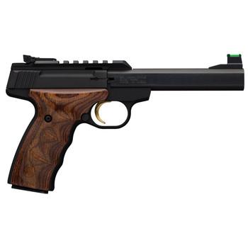 "Browning Buck Mark, Plus, Semi-Automatic, 22LR, 5.5"" Barrel, Aluminum Frame, Black Finish, Wood Grips, 10Rd, Fiber Optic Front Sight, Optic Rail 051532490, UPC : 023614444022"