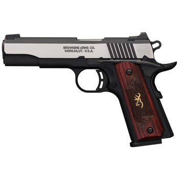 """Browning 1911-380, Black Label, Semi-automatic, Full Size, 380ACP, 4.25"""" Barrel, Aluminum Frame, Black and Stainless Finish, Wood Grips, 8Rd 051912492, UPC : 023614443742"""