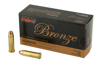 PMC Bronze, 38 Special, 132 Grain, Full Metal Jacket, 50 Round Box 38G, UPC :741569070102
