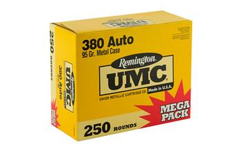 Remington UMC, 380ACP 95 Grain, Full Metal Jacket, Mega Pack, 250 Round Box 23721, UPC : 047700386102