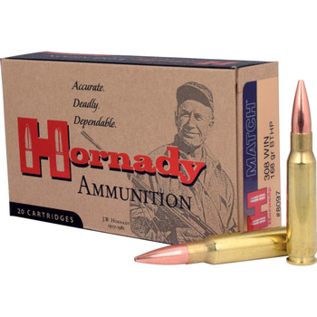 Hornady Match Ammunition, 308 Win, 168 Grain, Boat Tail Hollow Point, 20 Round Box 8097, UPC : 090255380972