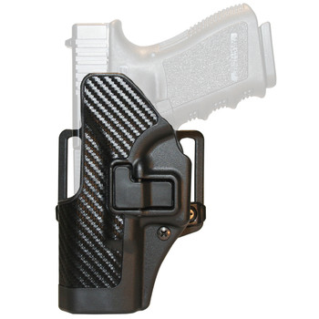 BLACKHAWK! CQC SERPA Holster With Belt and Paddle Attachment, Fits Glock 19/23/32/36, Left Hand, Carbon Fiber, Black 410002BK-L, UPC :648018003912