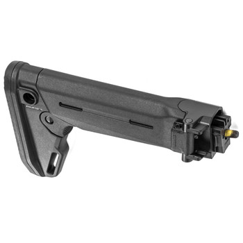 Magpul Industries Zhukov-S Stock, Fits Yugoslavian Pattern AK Rifles, Black Finish, Folding Stock, Can be used with Optional Cheek Risers, Adjustable for Length of Pull, Features an Angled Rubber Butt Pad for Ease of Shouldering MAG552-BLK, UPC :8408