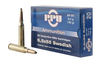 Prvi Partizan Rifle, 6.5X55 Swedish, 139 Grain, Soft Point, 20 Round Box PP6SWS, UPC :8605003812722
