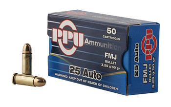 Prvi Partizan Rifle, 25ACP, 50 Grain, Full Metal Jacket, 50 Round Box PPH25, UPC :8605003813002