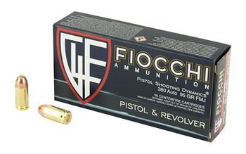 Fiocchi Ammunition Centerfire Pistol, 380ACP, 95 Grain, FullMetal Jacket, 50 Round Box 380AP, UPC :762344001852