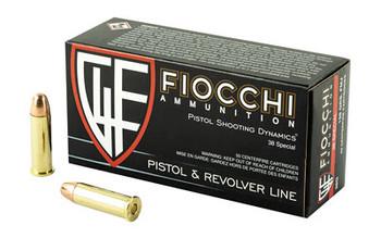 Fiocchi Ammunition Centerfire Pistol, 38 Special, 158 Grain,Full Metal Jacket, 50 Round Box 38G, UPC :762344000992