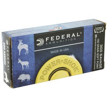 Federal PowerShok, 300 Savage, 150 Grain, Soft Point, 20 Round Box 300A, UPC : 029465084622