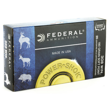 Federal PowerShok, 308WIN, 180 Grain, Soft Point, 20 Round Box 308B, UPC : 029465084752