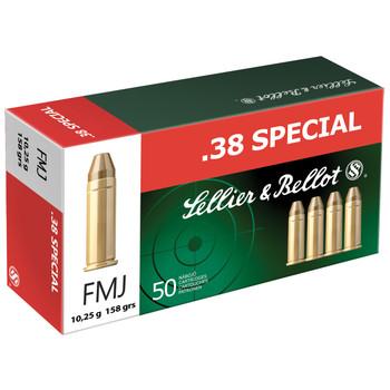 Sellier & Bellot Pistol, 38 Special, 158 Grain, Full Metal Jacket, 50 Round Box SB38P, UPC :754908500482