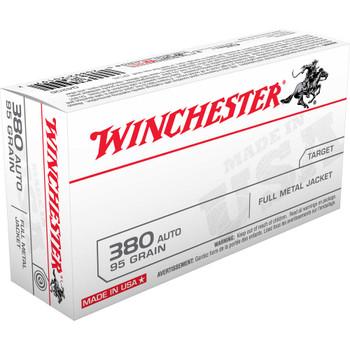 Winchester Ammunition USA, 380ACP, 95 Grain, Full Metal Jacket, 50 Round Box Q4206, UPC : 020892201972