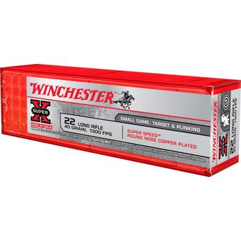 Winchester Ammunition Super Speed 22LR, 40 Grain, Plated Round Nose, 100 Round Box X22LRSS1, UPC : 020892102002