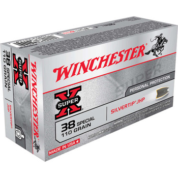 Winchester Ammunition Super-X, 38 Special, 110 Grain, Silvertip Hollow Point, 50 Round Box X38S9HP, UPC : 020892201262