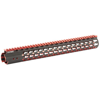 "Leapers, Inc. - UTG UTG PRO, Super Slim Free Floating Rail, Black/Red 2-Tone, Fits AR-15, 15"", Includes Two Keymod Rail Sections and Barrel Nut Wrench MTU019SSKR2, UPC :4717385552722"