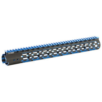 "Leapers, Inc. - UTG UTG PRO, M-Lok Super Slim Free Floating Rail, Black/Blue 2-Tone, Fits AR-15, 15"", Includes One M-LokPicatinny Rail Section One M-Lok QD Sling Swivel Adaptor and Barrel Nut Wrench MTU019SSMB2, UPC :4717385552692"