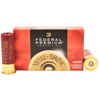 "Federal Premium Vital-Shok Ammunition 12 Gauge 2-3/4"" Buffered 00 Copper Plated Buckshot 9 Pellets, UPC : 029465001292"