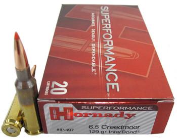 Hornady Superformance Ammunition 6.5 Creedmoor 129 Grain InterBond Box of 20, UPC : 090255814972