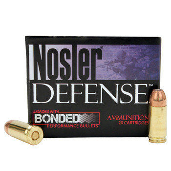 Nosler Defense Ammunition 9mm Luger +P 124 Grain Bonded Jacketed Hollow Point Box of 20, UPC : 054041384322