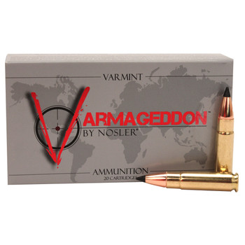 Nosler Varmageddon Ammunition 300 AAC Blackout 110 Grain Tipped Flat Base Box of 20, UPC : 054041401272