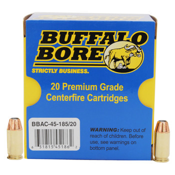 Buffalo Bore Ammunition 45 ACP +P 185 Grain Jacketed Hollow Point Box of 20, UPC :651815451862