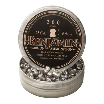 Benjamin Air Gun Pellets 25 Caliber 27.76 Grain Premier Domed Tin of 200, UPC : 028478132672
