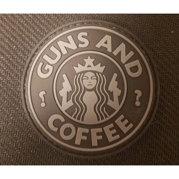RUBBER MORAL PATCH GUNS N COFFEE BLK/GRY, UPC :642896554672