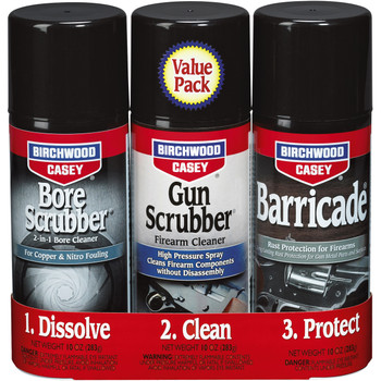 Birchwood Casey 1-2-3 Aerosol Value Pack, 10 oz 2-Bore Scrubber, 2-Gun Scrubber, 2-Barricade Aerosol Can 33309, UPC : 029057333091