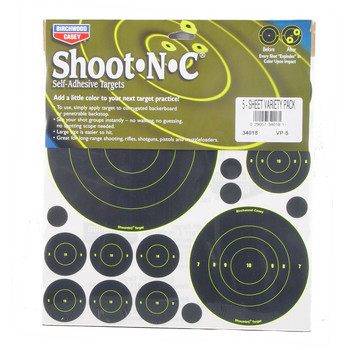 "Birchwood Casey Shoot-N-C Target, Bullseye, 50-1"", 30-2"", 5-5.5"",and 5-8"" Targets 34018, UPC : 029057340181"