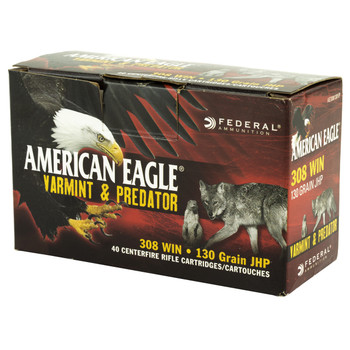 Federal American Eagle Varmint & Predator, 308 Win, 130 Grain, Jacketed Hollow Point, 40 Round Box AE308130VP, UPC :604544617641