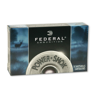 "Federal PowerShok, 12 Gauge, 2.75"", 00 Buck, Max Dram, Buckshot, 9 Pellets,5 Round Box F12700, UPC : 029465009731"