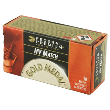 Federal Gold Medal, 22LR, 40 Grain, High Velocity, Lead Rond Nose, 50 Round Box 719, UPC : 029465057381