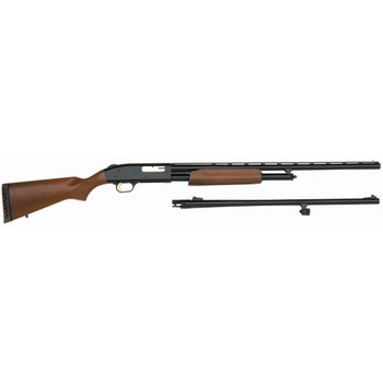"Mossberg 500 Combo, Pump Action, 20 Gauge, 3"" Chamber, 26"" Vent Rib Barrel, AccuChoke, Blue Finish, Wood Stock, Bead Sight, 5Rd, w/24 Rifled, Ported Barrel 54282, UPC : 015813542821"