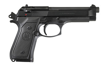"""Beretta M9, Double Action, Full Size, 9MM, 4.9"""" Barrel, Alloy Frame, Matte Black Finish, Polymer Grips, 3 Dot Sights, 15Rd, 2 Magazines, Ambidextrous Safety J92M9A0M, UPC : 082442816371"""
